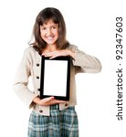The little girl with the tablet on a white background - stock photo