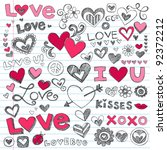 valentine's day love   hearts... | Shutterstock .eps vector #92372212