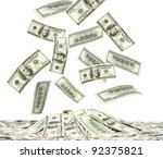 dollars falling to the stack of ... | Shutterstock . vector #92375821