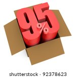 one open carton box with the 95 percent rate number that comes out (3d render) - stock photo