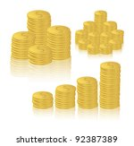 stacks of coins with reflection ... | Shutterstock .eps vector #92387389