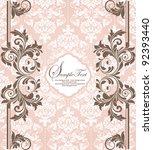 pink vintage damask invitation... | Shutterstock .eps vector #92393440