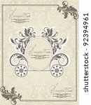 vintage wedding invitation... | Shutterstock .eps vector #92394961