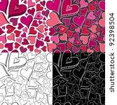 seamless heart pattern | Shutterstock .eps vector #92398504