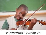 Schoolboy Playing The Violin I...