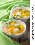 chicken soup with vegetables | Shutterstock . vector #92407228
