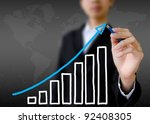 businessman hand drawing a... | Shutterstock . vector #92408305