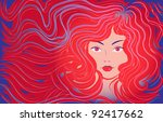 beautiful woman with flowing... | Shutterstock .eps vector #92417662