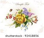 vintage postcard with ... | Shutterstock .eps vector #92418856