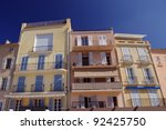 traditional houses in Saint Tropez, France - stock photo