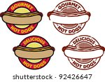 Hot Dog Graphics and Stamps - stock vector