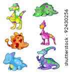 a collection of cute colorful dino's