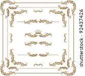 vector set of gold decorative... | Shutterstock .eps vector #92437426
