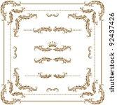 vector set of gold decorative... | Shutterstock .eps vector #92437426