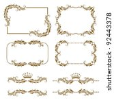 vector set of decorative... | Shutterstock .eps vector #92443378