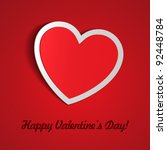 Red Heart Paper Sticker With Shadow Valentine's day vector illustration Postcard eps 10