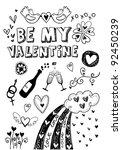 doodle valentine's elements.... | Shutterstock .eps vector #92450239