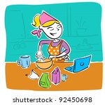 lady reading recipe from laptop | Shutterstock .eps vector #92450698