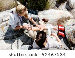 a woman has sprained her ankle... | Shutterstock . vector #92467534