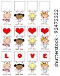 stick cupids holding a banner... | Shutterstock .eps vector #92472322