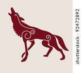 ancient celtic symbol of wolf | Shutterstock .eps vector #92472892