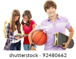active teenager with skateboard ... | Shutterstock . vector #92480662