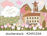 house and tulips in a magical... | Shutterstock .eps vector #92491534
