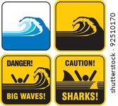 Danger Big Waves Sign. Tsunami