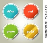 colorful stickers | Shutterstock .eps vector #92511514
