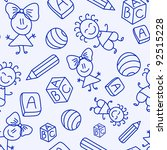 hand drawn seamless pattern... | Shutterstock .eps vector #92515228