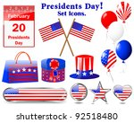 presidents day. set of icons....   Shutterstock .eps vector #92518480
