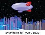 Futuristic Skyline With Blimp