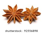 Star Anise Isolated On White...