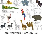 funny african animal collection.... | Shutterstock .eps vector #92560726
