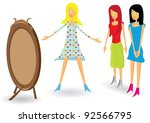 girls and new dress. vector... | Shutterstock .eps vector #92566795