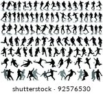 black silhouettes and shadow of ... | Shutterstock .eps vector #92576530
