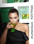 WEST HOLLYWOOD, CA - MAY 10: Kim Kardashian attends the Midori Melon Liqueur Trunk Show at Trousdale on May 10, 2011 in West Hollywood, California - stock photo