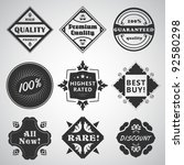 set of 9 vector labels with... | Shutterstock .eps vector #92580298