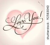 'love You' Hand Lettering  ...