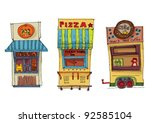 coffee and pizza kiosk   set | Shutterstock .eps vector #92585104
