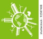 Green Eco city ecology vector background concept around globe - stock vector
