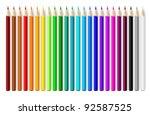 Color Pencils Set On White...