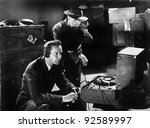 two men listening to a... | Shutterstock . vector #92589997