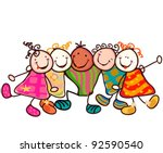 Group Of Smiling Kids With...