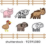 Set Of Farm Animals In A Fence