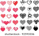 vector hearts set for wedding...