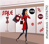 shopping girl in a mall | Shutterstock .eps vector #92596792