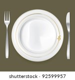 empty dinner plate  drawing the ... | Shutterstock .eps vector #92599957