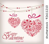 greeting hanging heart | Shutterstock .eps vector #92611210