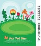 cute childlike magic meadow.... | Shutterstock .eps vector #92623381
